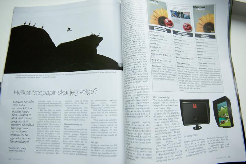 Fotopapir: Det er et hav av ulike papir til printer. Hva skal man velge? Faksimile av Fotografi Nr1 2012