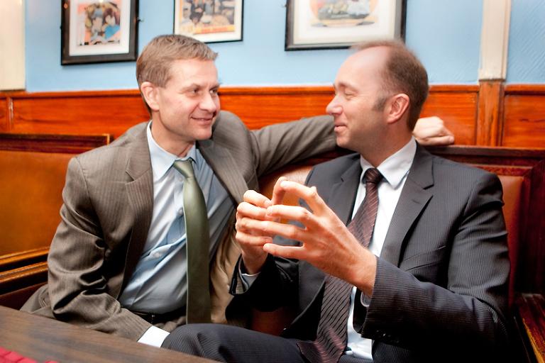 Tidligere miljøvernminister Erik Solheim (SV) og næringsminister Trond Giske (Ap). Foto: Marion Haslien