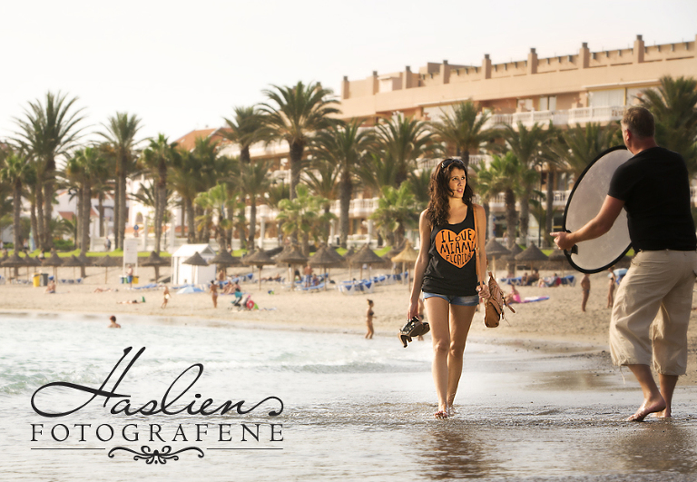 Behind the scene photo. Photographer Marion Haslie working model photography on Tenerife in Spain.