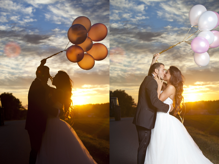 Bildene her er tatt med noen sekunders mellomrom. Bildene er helt uredigerte og viser hvordan kamera slår ut når lampen ikke slår ut. Ganske fint med siluett også. Begge foto gir oss en flott himmel. Bildet under har en innstilling der vi ikke bruker lyskilde - himmelen blir en del kjedeligere, men brudeparet kommer greit frem.