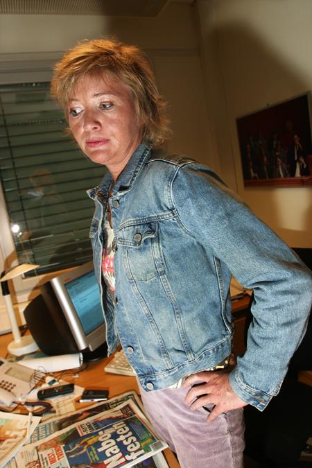 """""""Høy og mørk"""". Dagbladets politiske redaktør Marie Simonsen. Et bilde jeg tok i 2005."""
