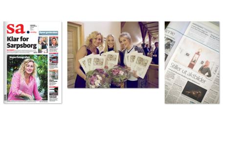 Til Venstre faksimile av forsiden på Sarpsborg Arbeiderblads sommerportrett. I midten fra premieutdelingen i Laugskonkurransen 2015 i november. Til høyre oppslag i lokalavisen om vår aktutstilling.