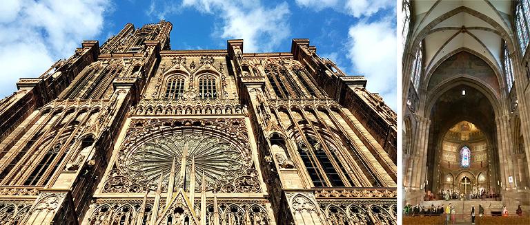 Notre-Damekatedralen i Strasbourg. Kirken ligger på øya Grande Île som i 1988 ble oppført på UNESCOs liste over verdens kulturarv.