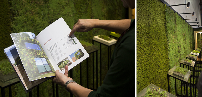 Denne utstilleren fenget oss i den forstand at vi er på jakt etter en grønn løsning på taket i studio og vårt private hus. I tillegg er det noe vi vurderer å ha på en vegg i studio, da med planter som gir farge.
