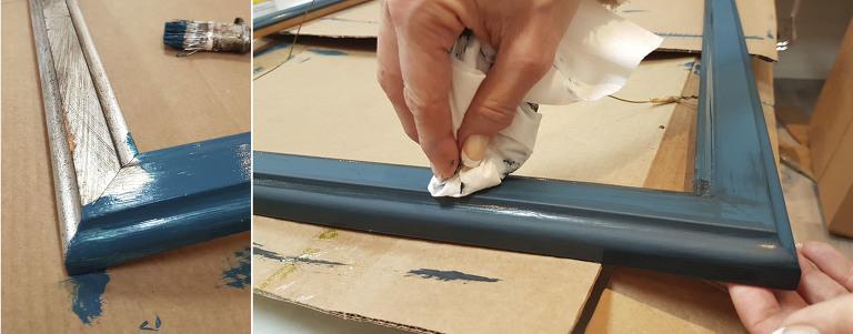 Vi maler en gammel ramme vi har hatt på lager. Ramme med passepartout list.